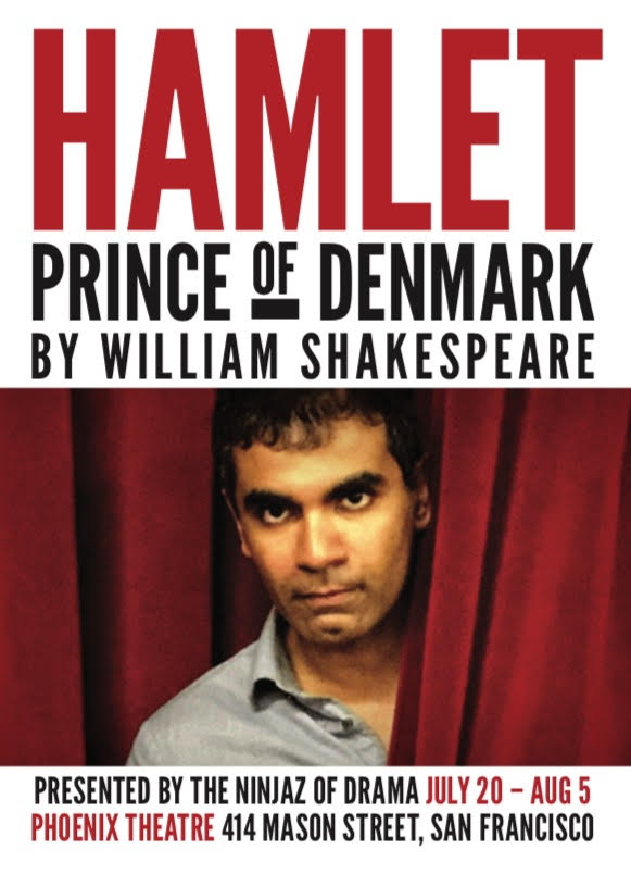 postcard for Ninjaz of Drama's production of Hamlet at the Phoenix theatre 414 Mason running through Aug 5