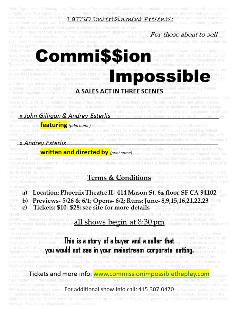 Commission Impossible A Sales Act in Three Scenes https://www.brownpapertickets.com/event/3430558