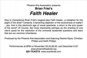 Details for Faith Healer Phoenix Theatre 8pm on Nov 22, 23, 29, 30, Dec 6, 7